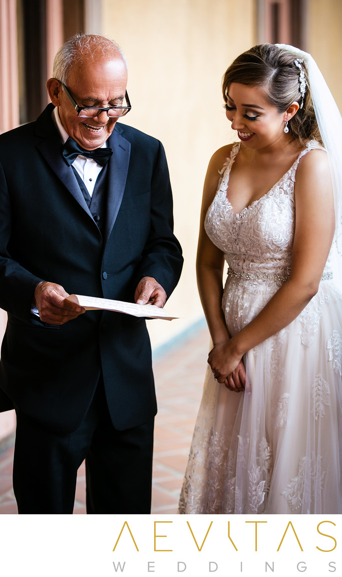 Bride and dad react to letter at Villa Del Sol D'Oro