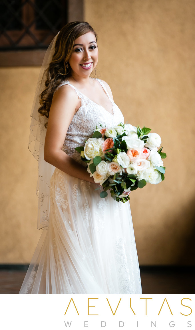 Bride portrait with rose bouquet in Sierra Madre