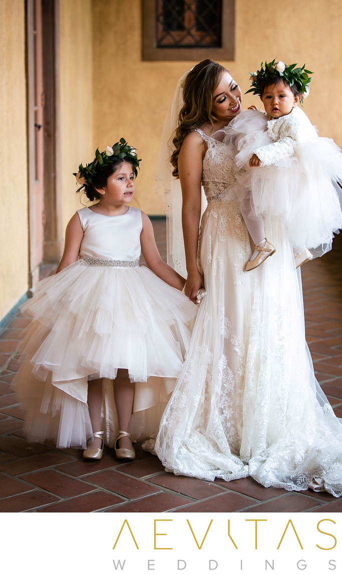 Bride with flower girls at Villa Del Sol D'Oro