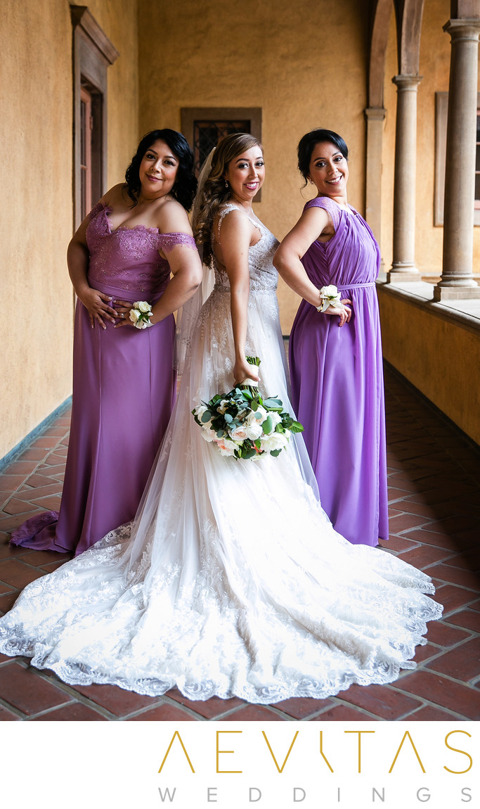 Beautiful bride and bridesmaids portrait in LA