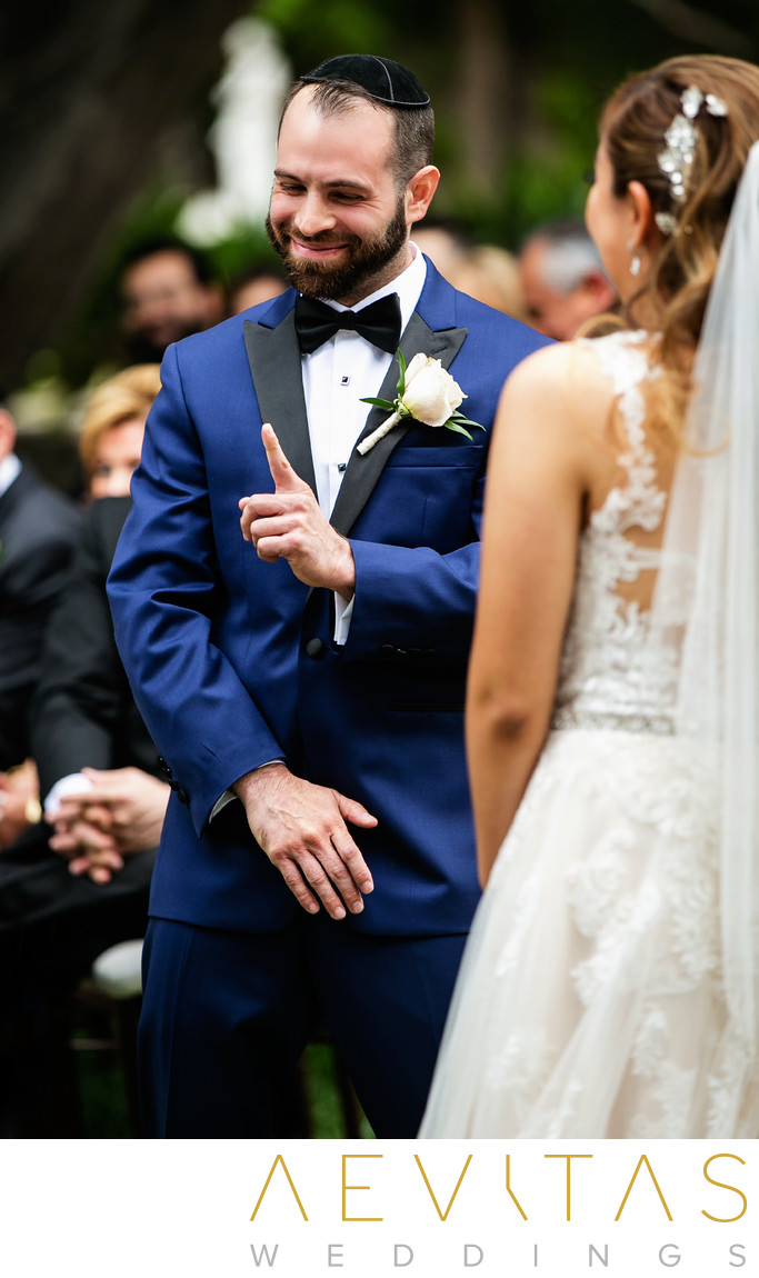 Funny groom reaction during Sierra Madre wedding