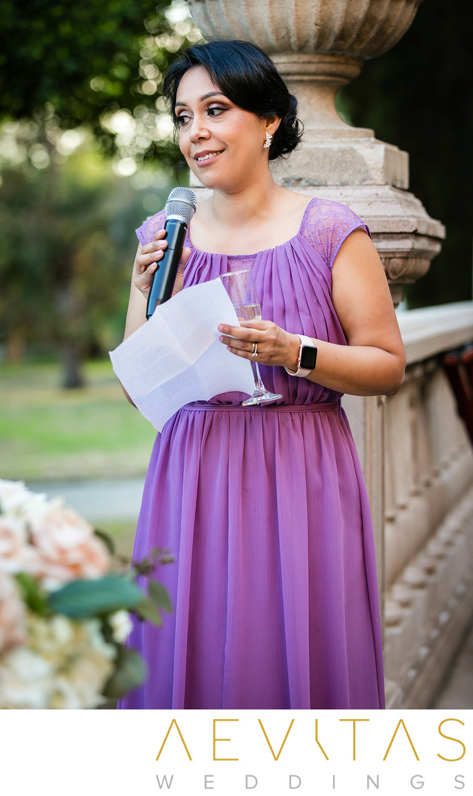 Bridesmaid speech at Villa Del Sol D'Oro wedding