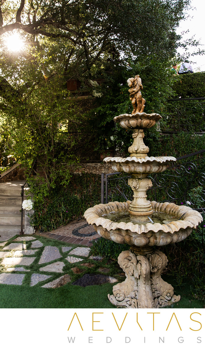 Ornate fountain at The Houdini Estate in Los Angeles