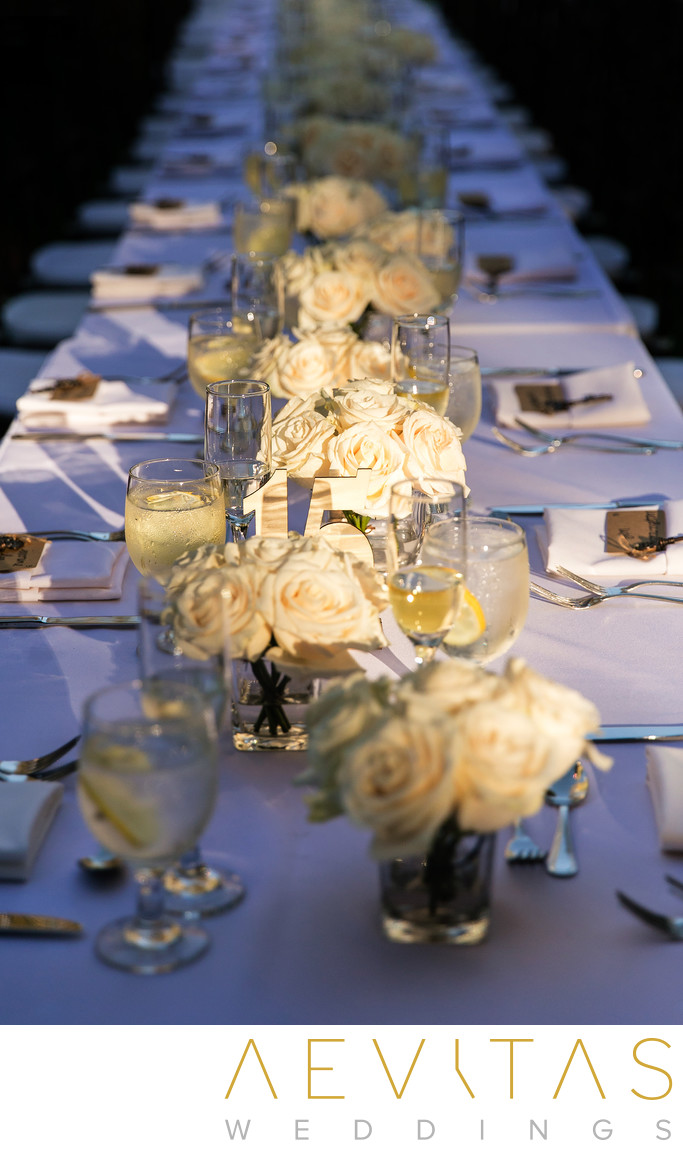 Floral table details at The Houdini Estate reception