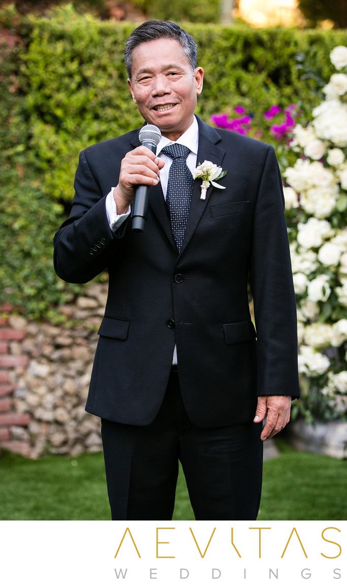 Father-of-the-bride wedding reception speech in LA