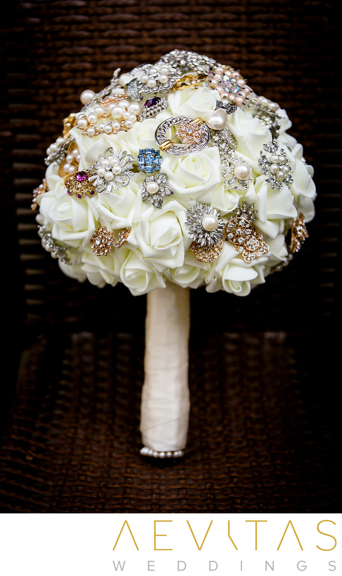 Jewelry bouquet by Yorba Linda wedding photographer