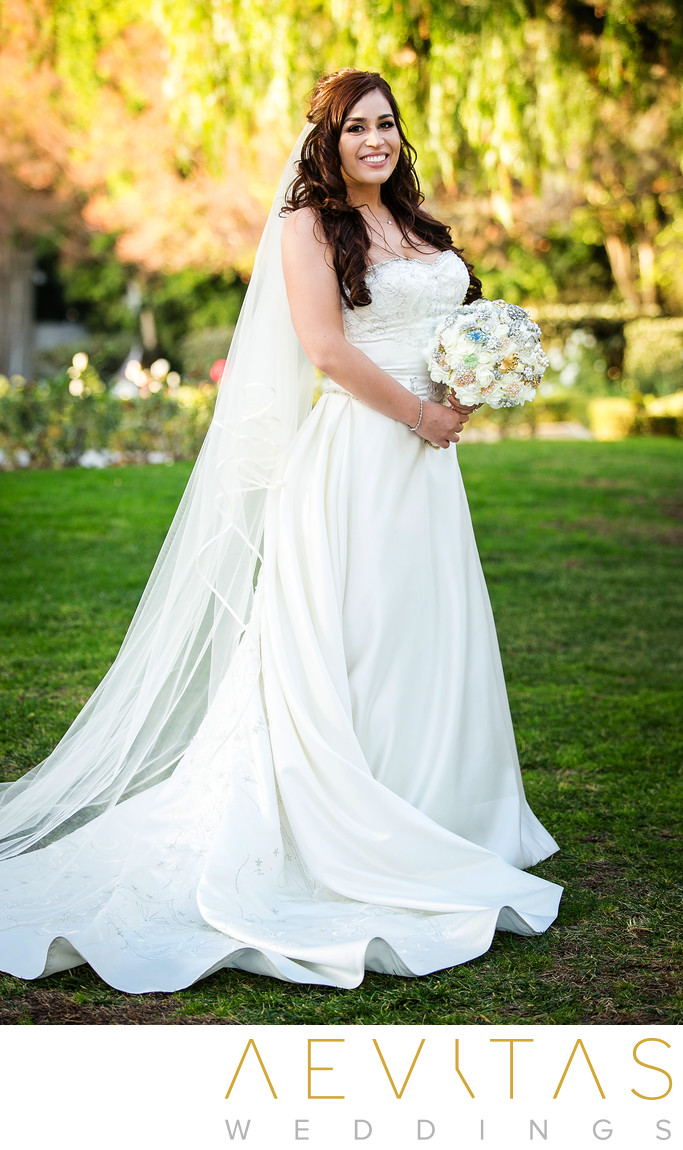 Beautiful bride portrait Richard Nixon Library gardens