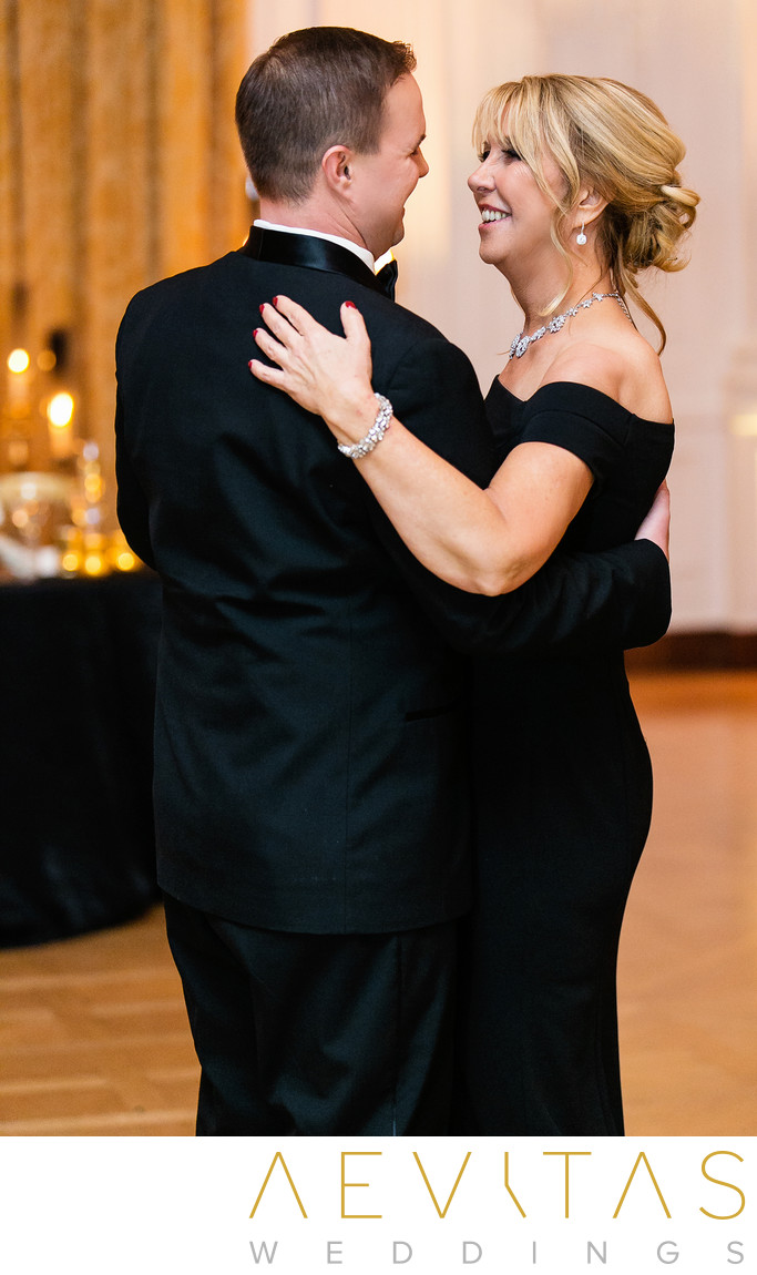 Mom looks at groom Yorba Linda wedding reception dance