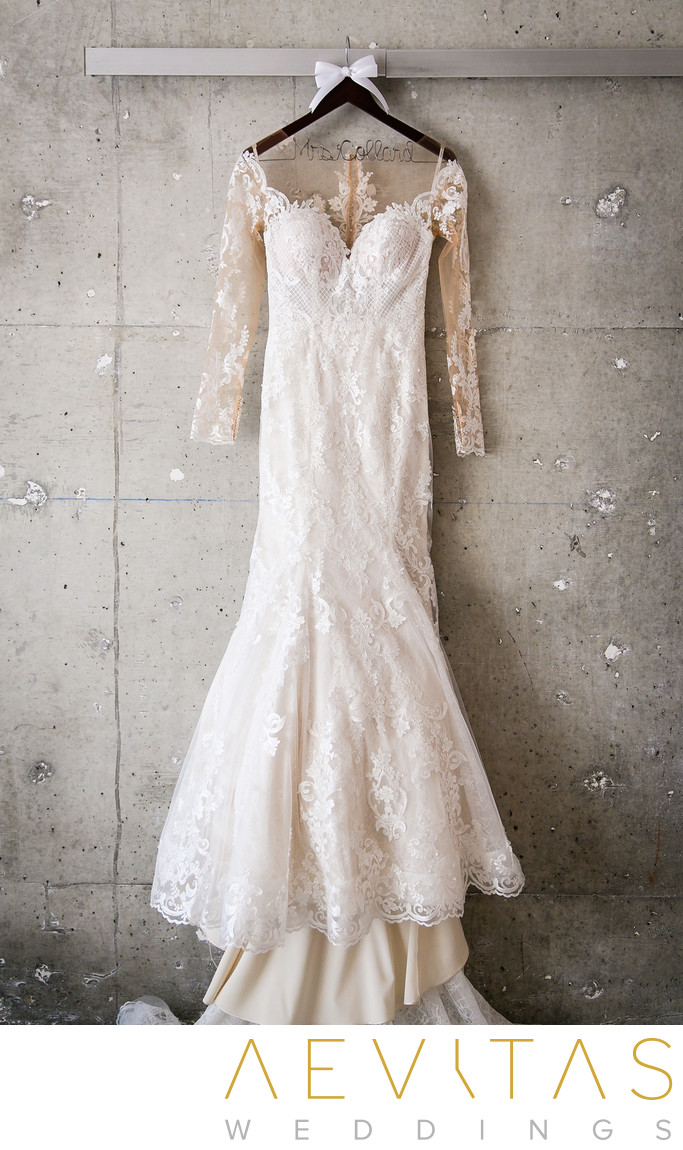 Wedding dress hanging in suite at The LINE in LA