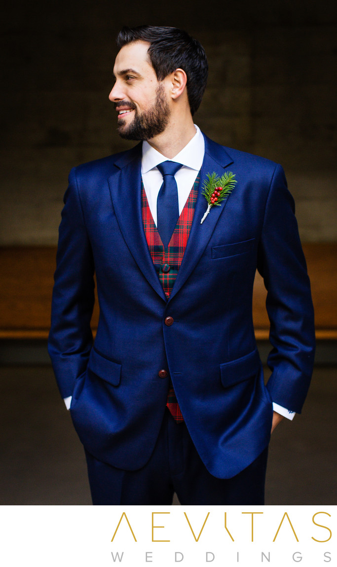 Sophisticated groom portrait with tartan waistcoat