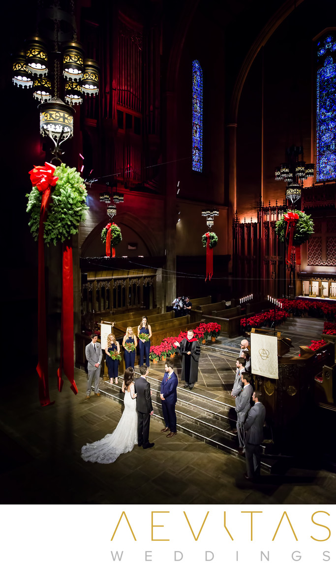 Bird's eye view of First Congregational Church wedding
