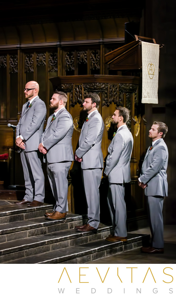 Groomsmen at First Congregational Church ceremony