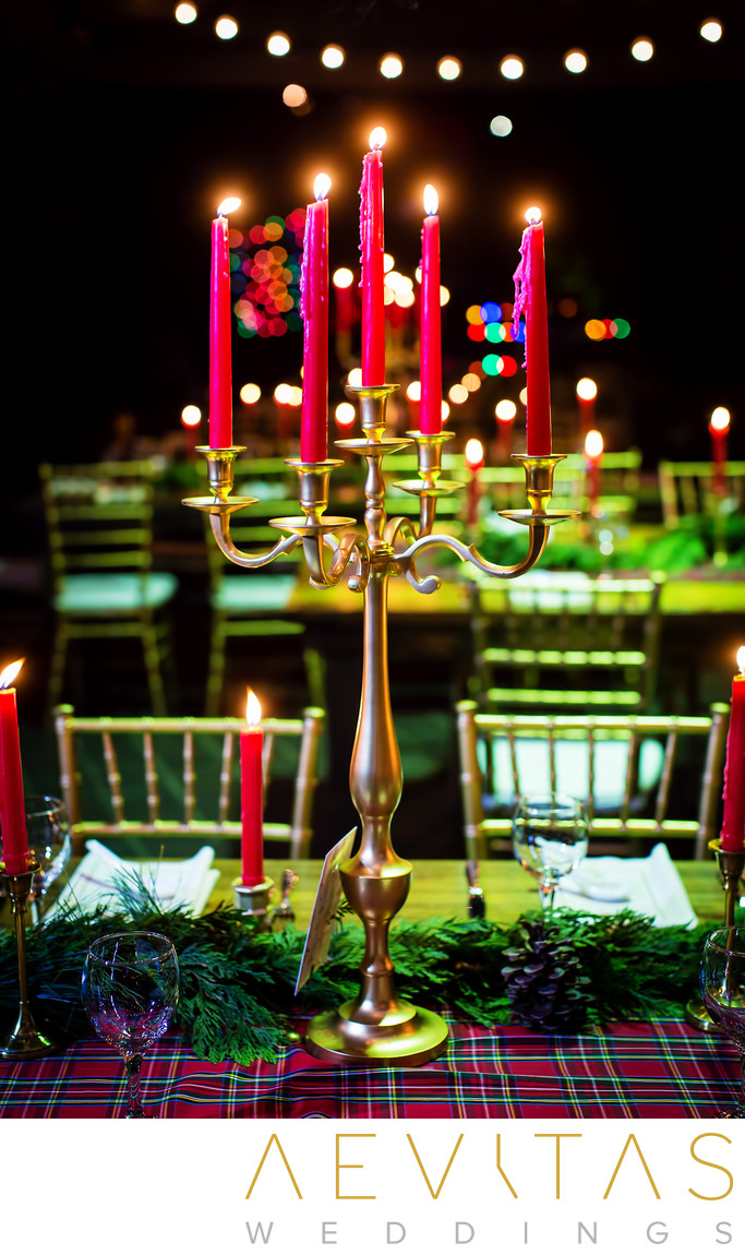 Candelabra at Christmas-themed wedding at Tiato