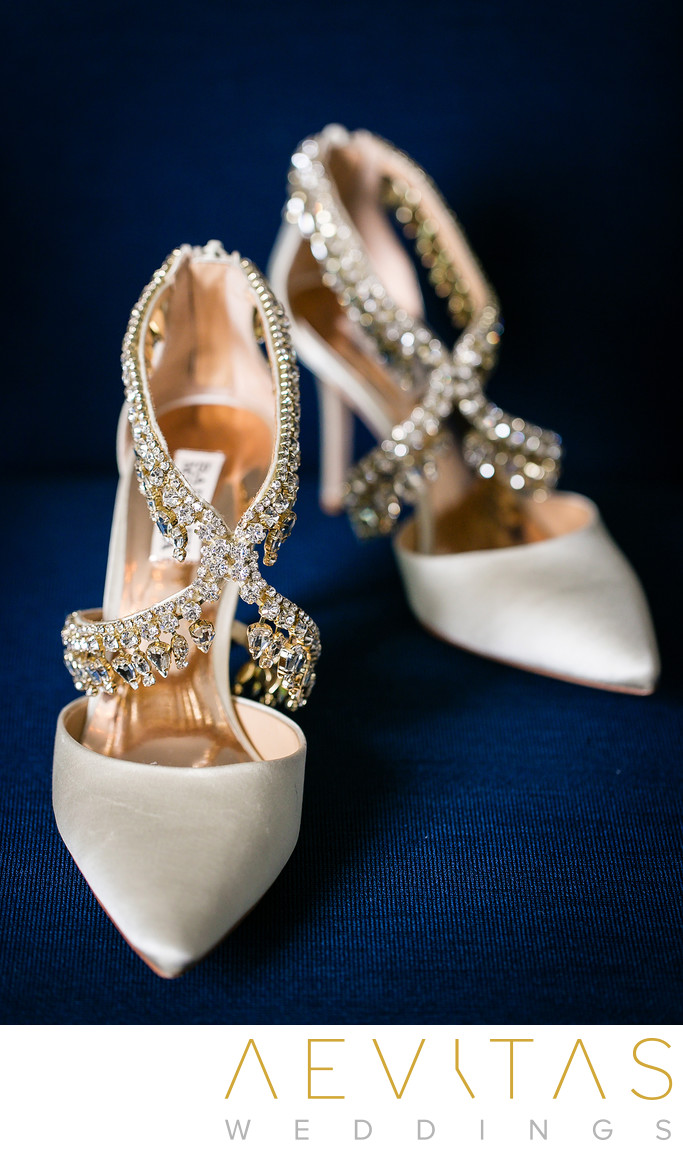 Details photo of wedding shoes at Santa Monica wedding