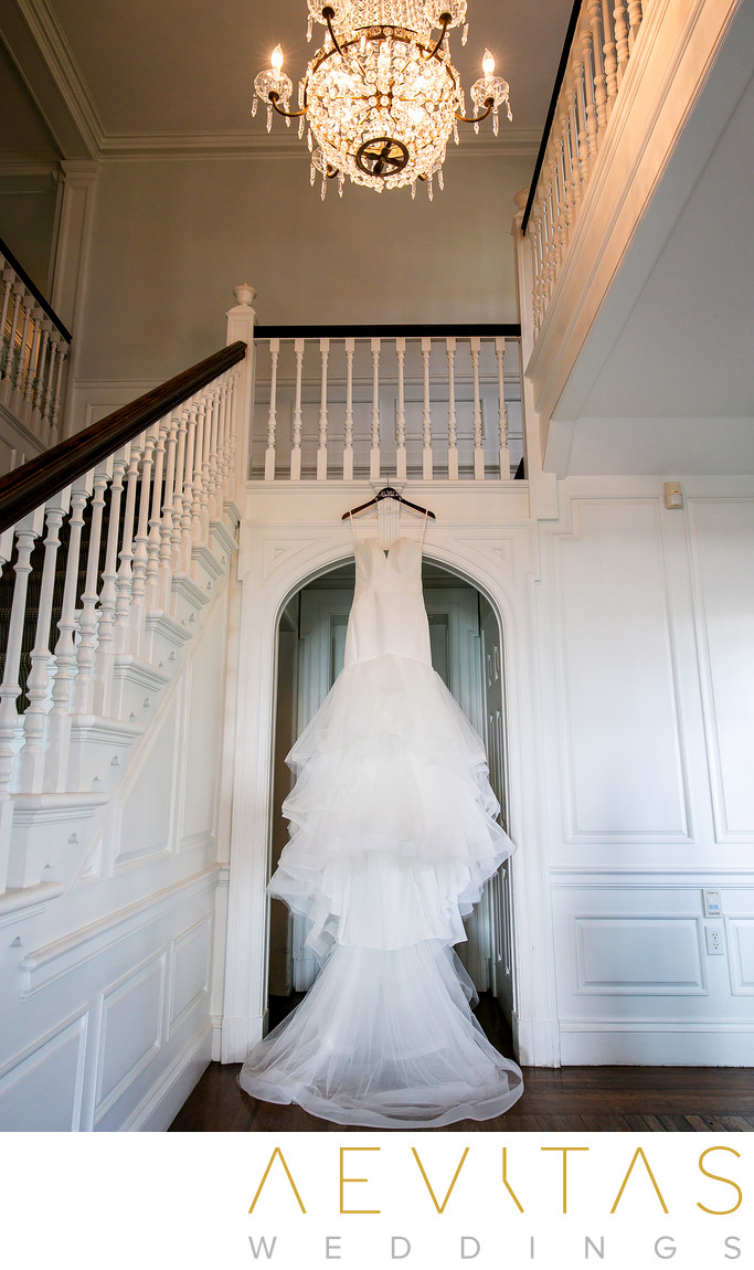Wedding dress hangs at Marion Davies Guest House