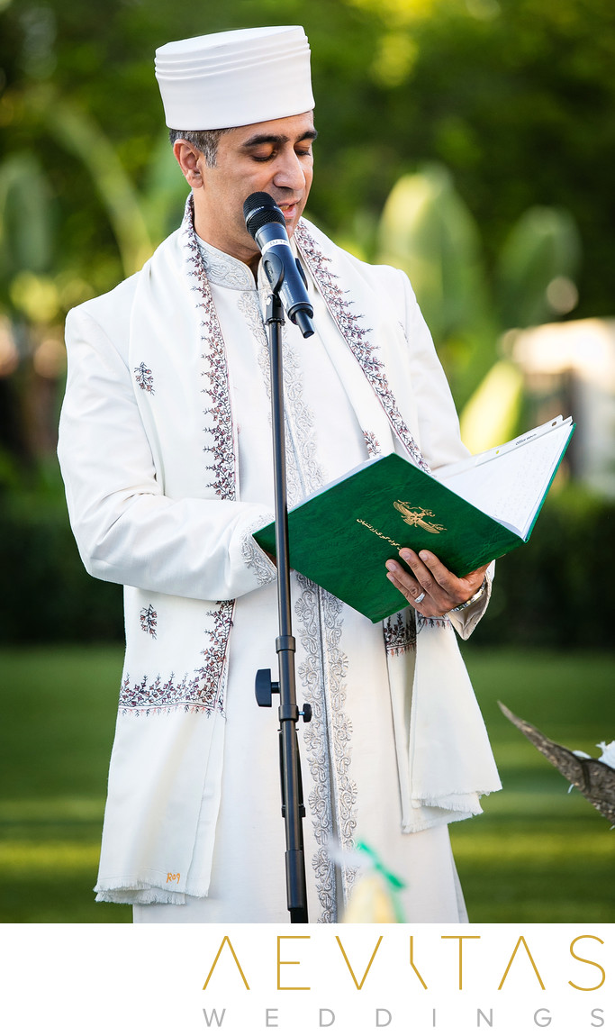 Officiant reading at Persian wedding ceremony in Irvine