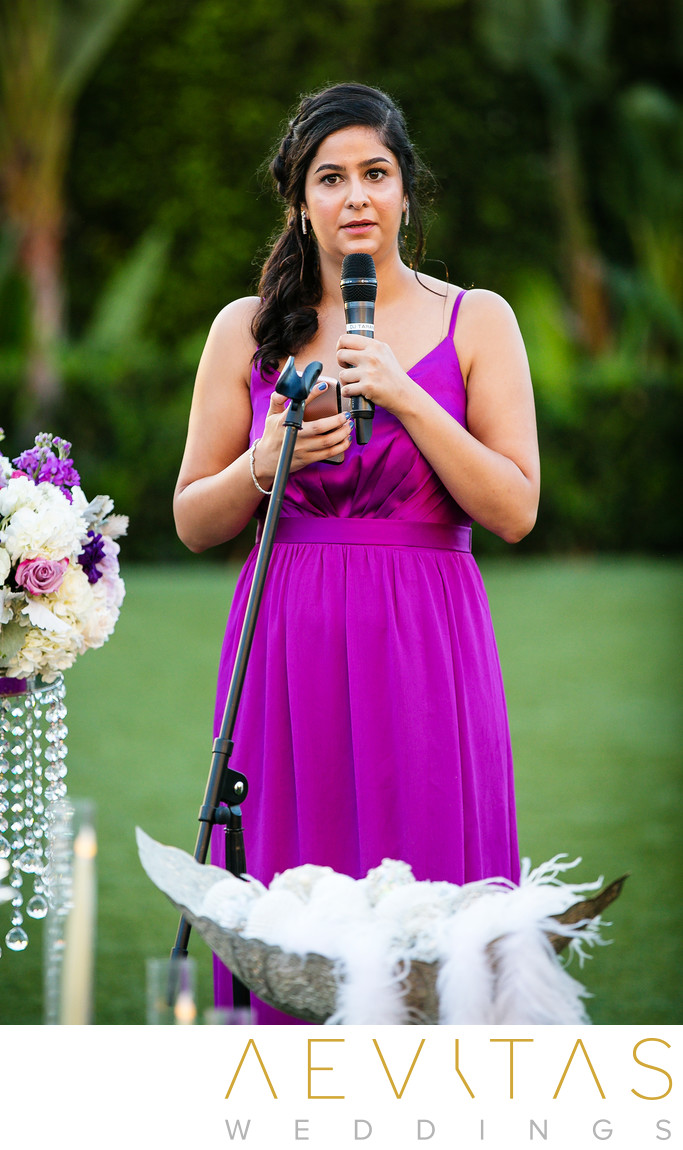 Bridesmaid reading at Hotel Irvine wedding ceremony