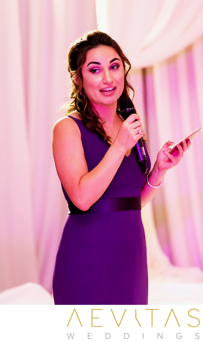 Bridesmaid speech at Hotel Irvine wedding reception