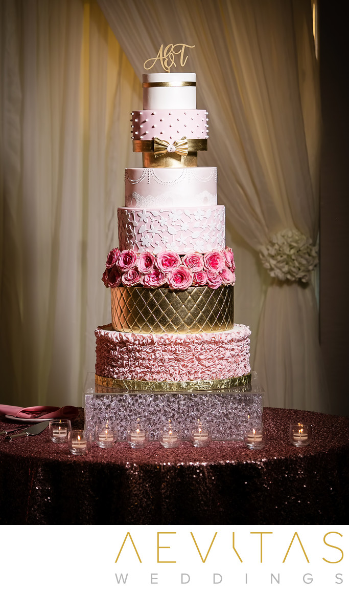 Multi-tiered wedding cake at Sacramento reception