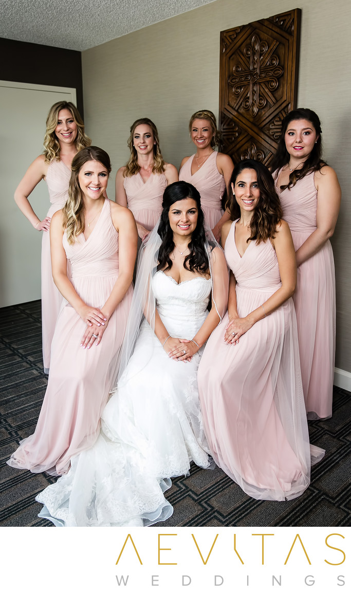 Bride with bridesmaids portrait at Glendale wedding