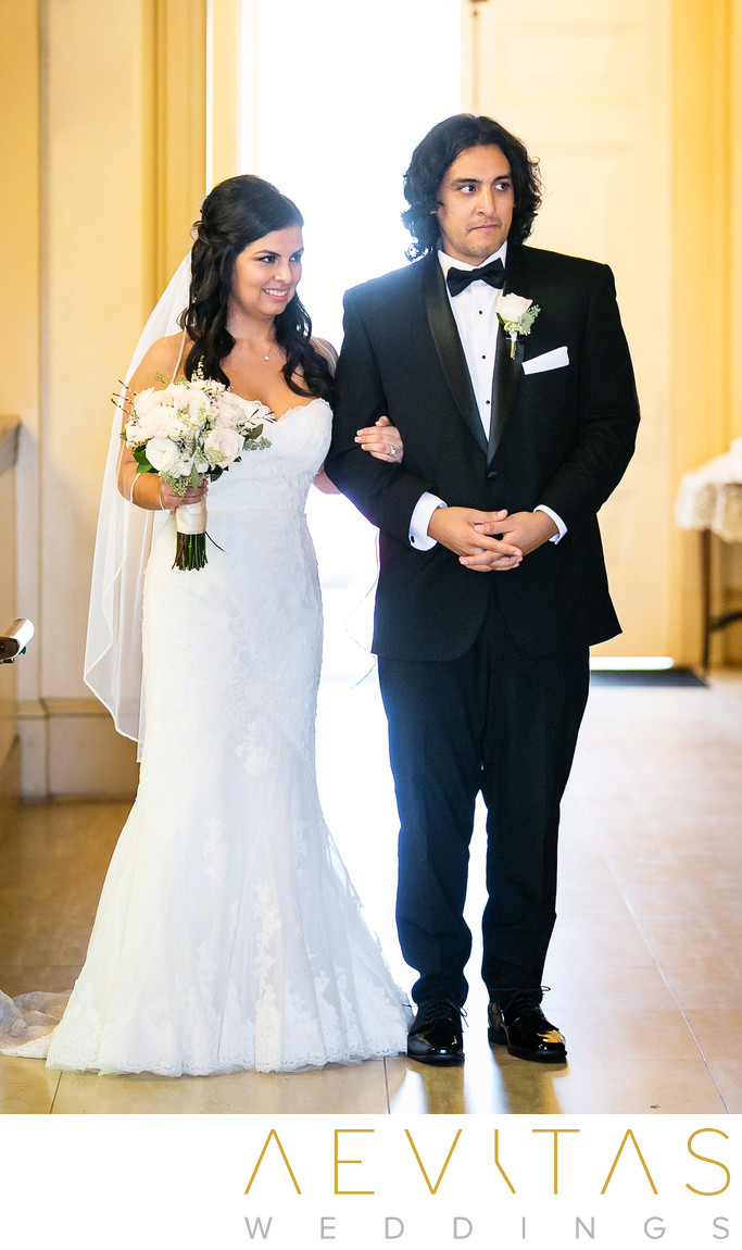 Bride and brother at Saint Mary's Armenian Church
