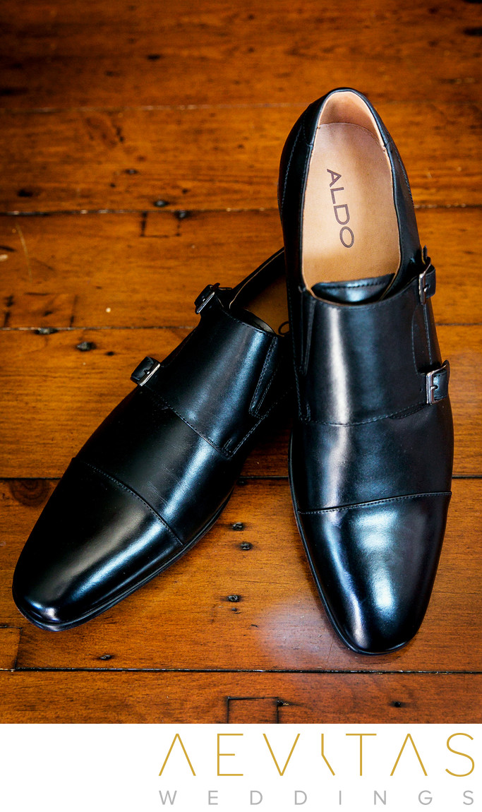 Groom's black shoes by Aldo at Los Angeles wedding