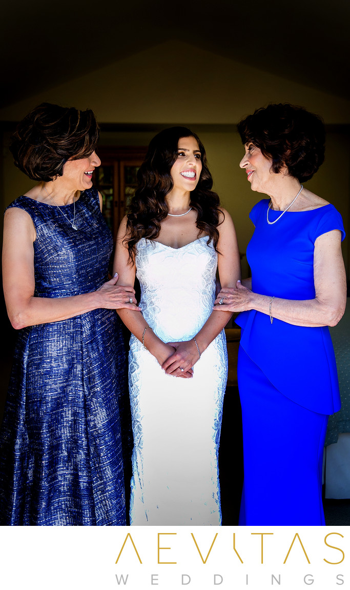 Bride portrait with mom and mother-in-law Los Angeles