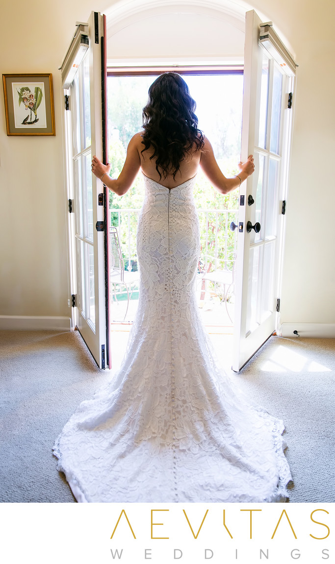 Bride portrait with French doors at LA family home