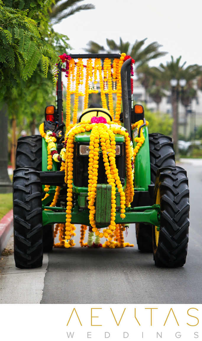 Tractor with yellow flower garlands at Pasea Hotel