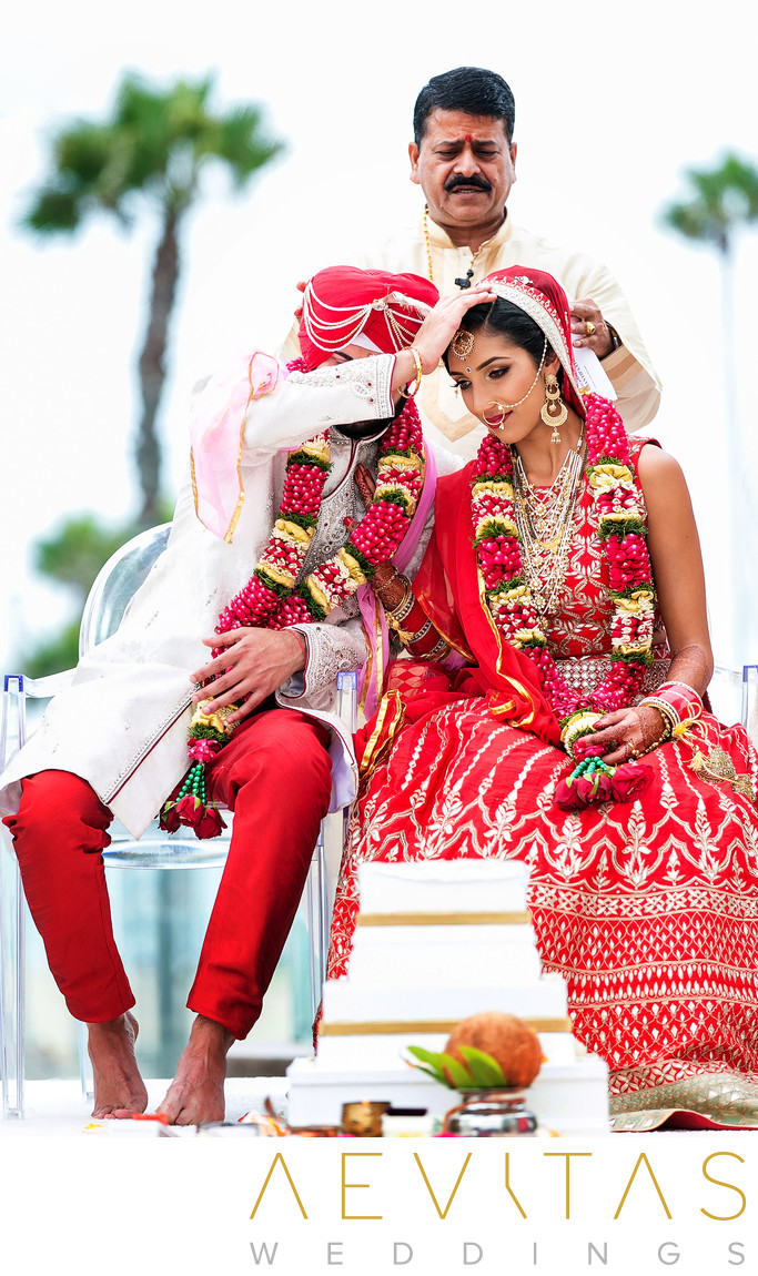 Tender couple moment at Hindu wedding ceremony