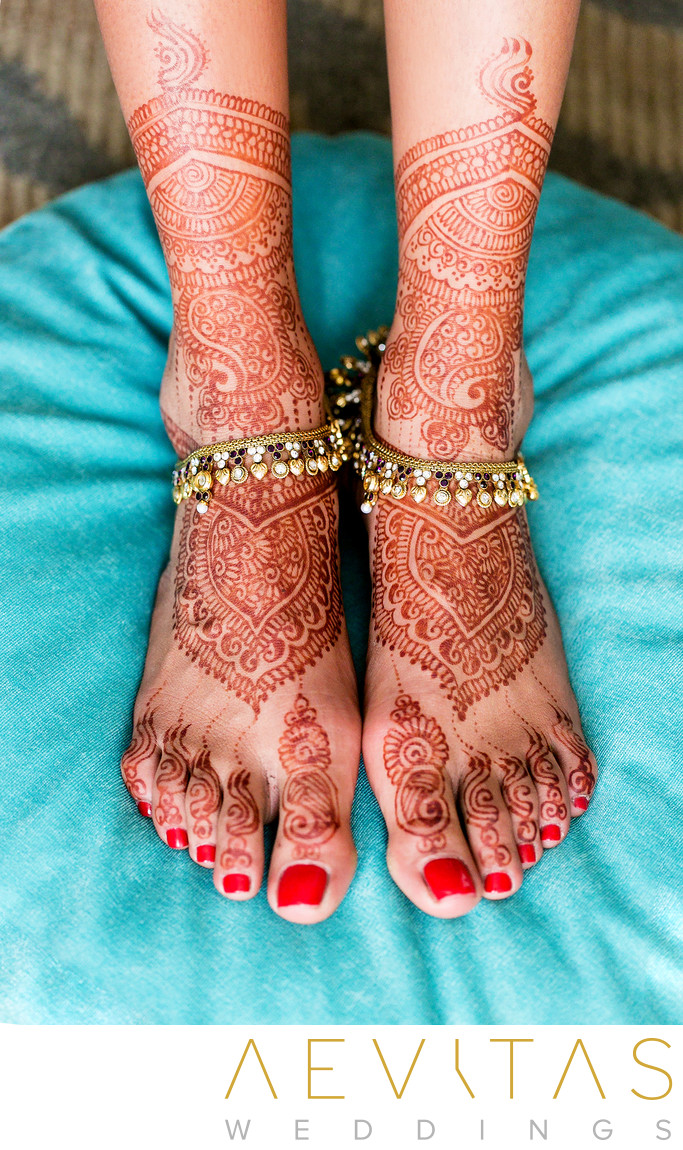 Bride's henna feet at Los Angeles Indian wedding