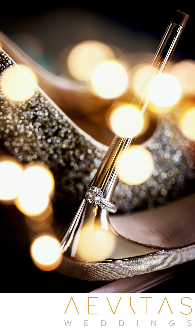 Creative photo of bride's wedding shoes and ring
