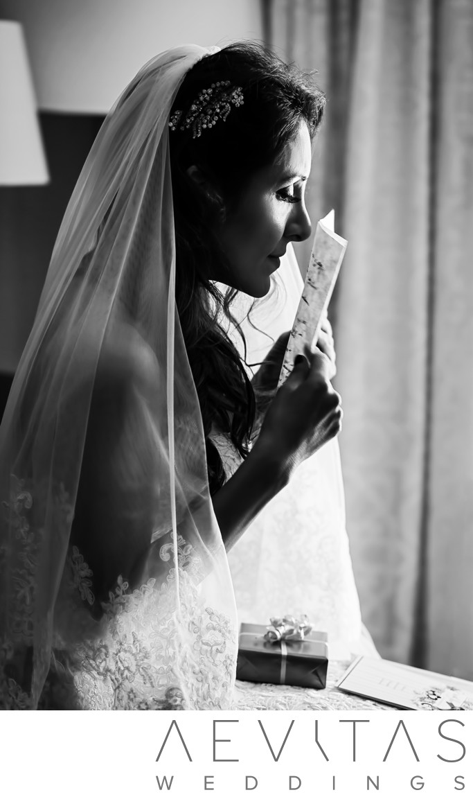 Black and white bride emotional moment in Santa Barbara