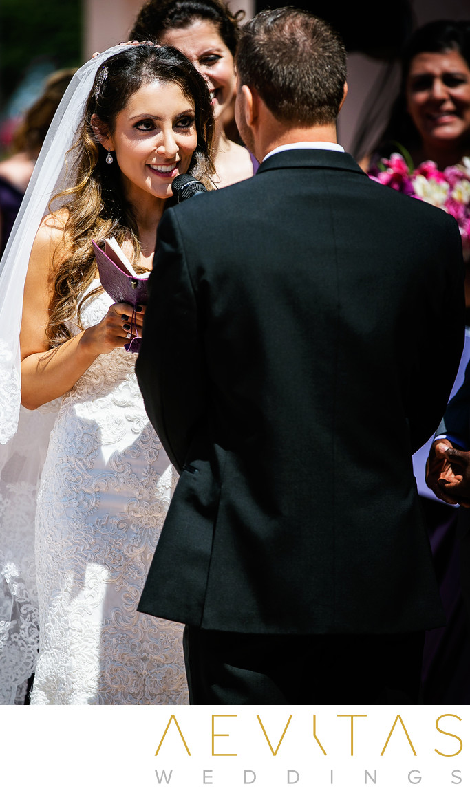 Bride reads vows at Santa Barbara wedding ceremony