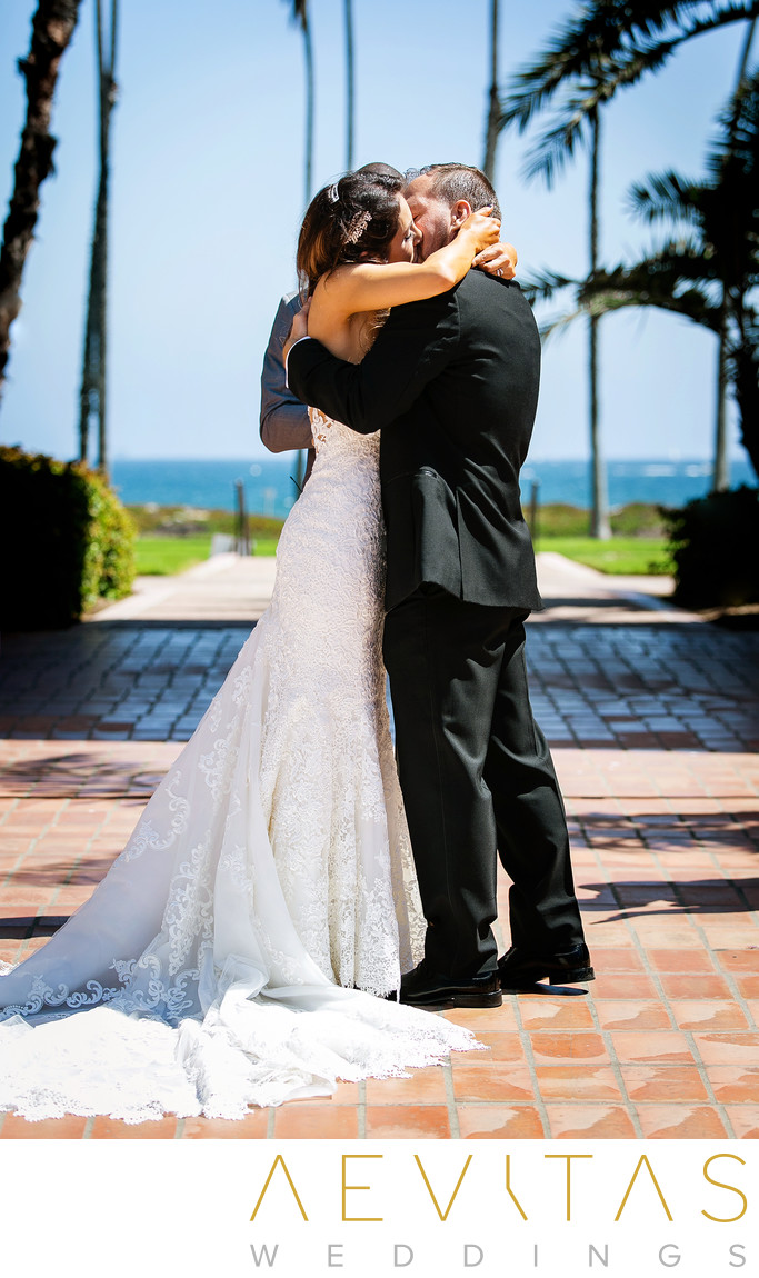 Bride and groom kiss at Santa Barbara wedding ceremony