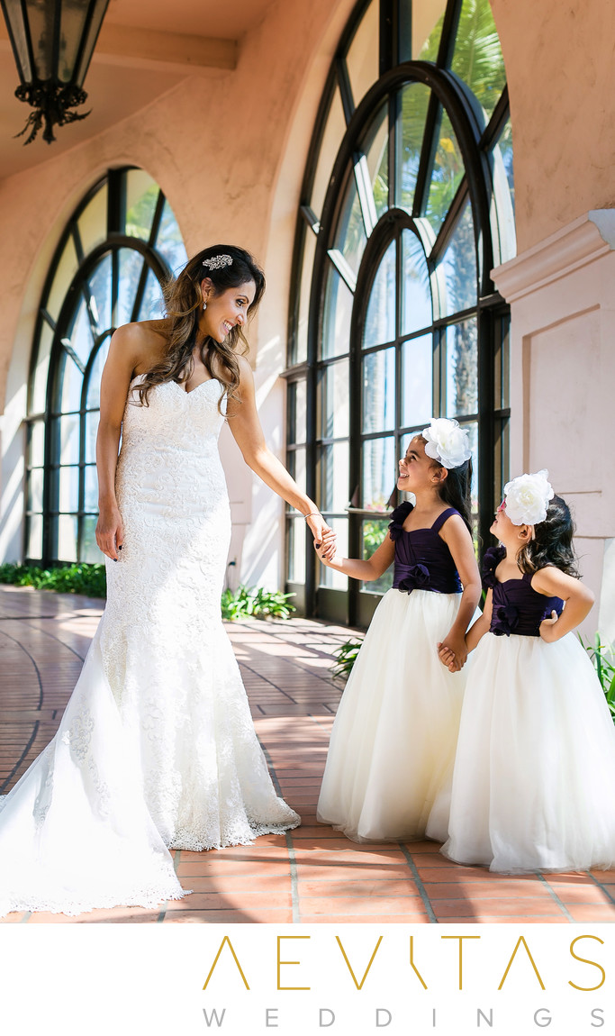 Portrait of bride with flower girls in Santa Barbara