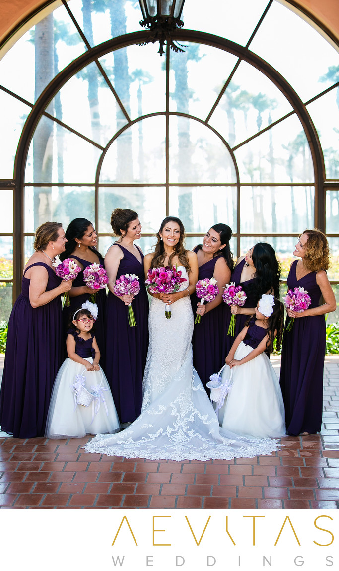 Bride with bridesmaids Fess Parker DoubleTree Resort