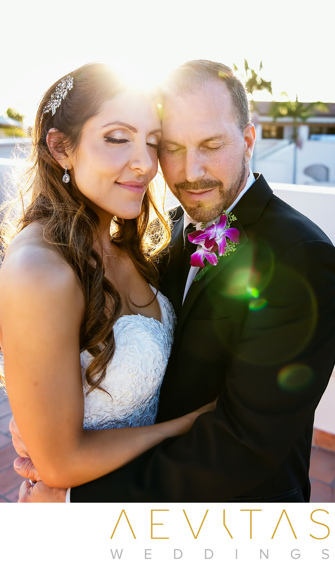 Couple portrait with sunburst in Santa Barbara