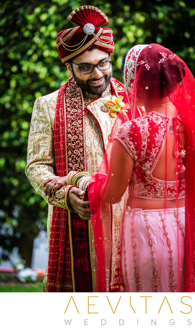 Groom reaction during Indian wedding first look