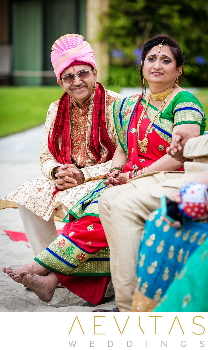 Candid parent reactions at San Diego Indian wedding