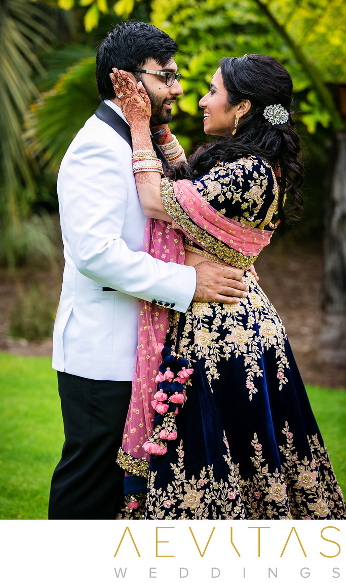 Romantic couple portrait at San Diego Indian wedding
