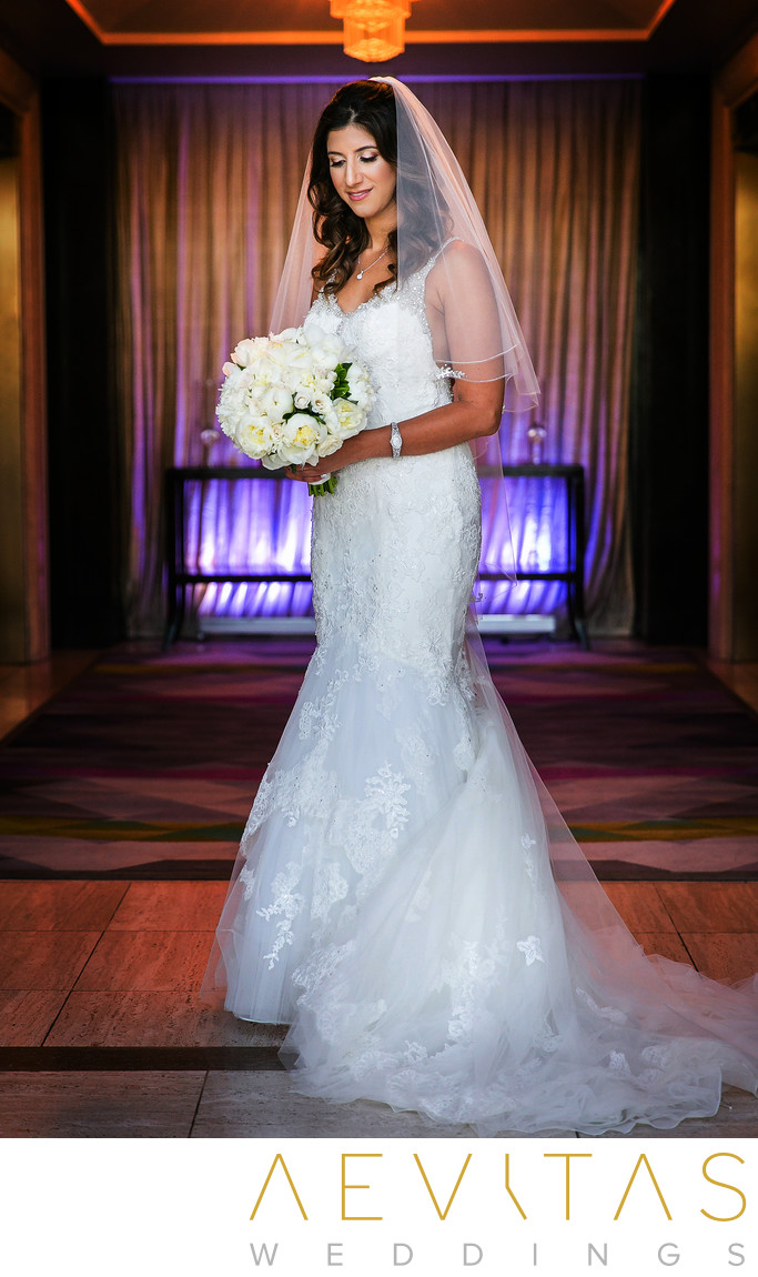 Bride portrait with purple lighting at LA hotel
