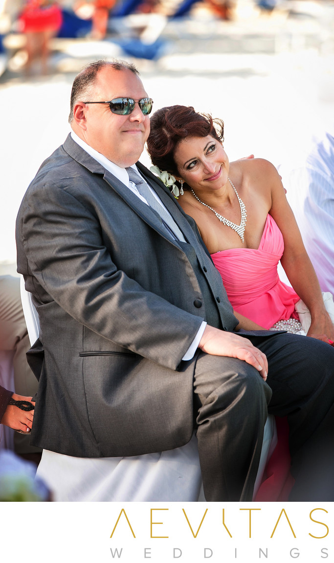 Parents of the bride at Cancun beach wedding ceremony