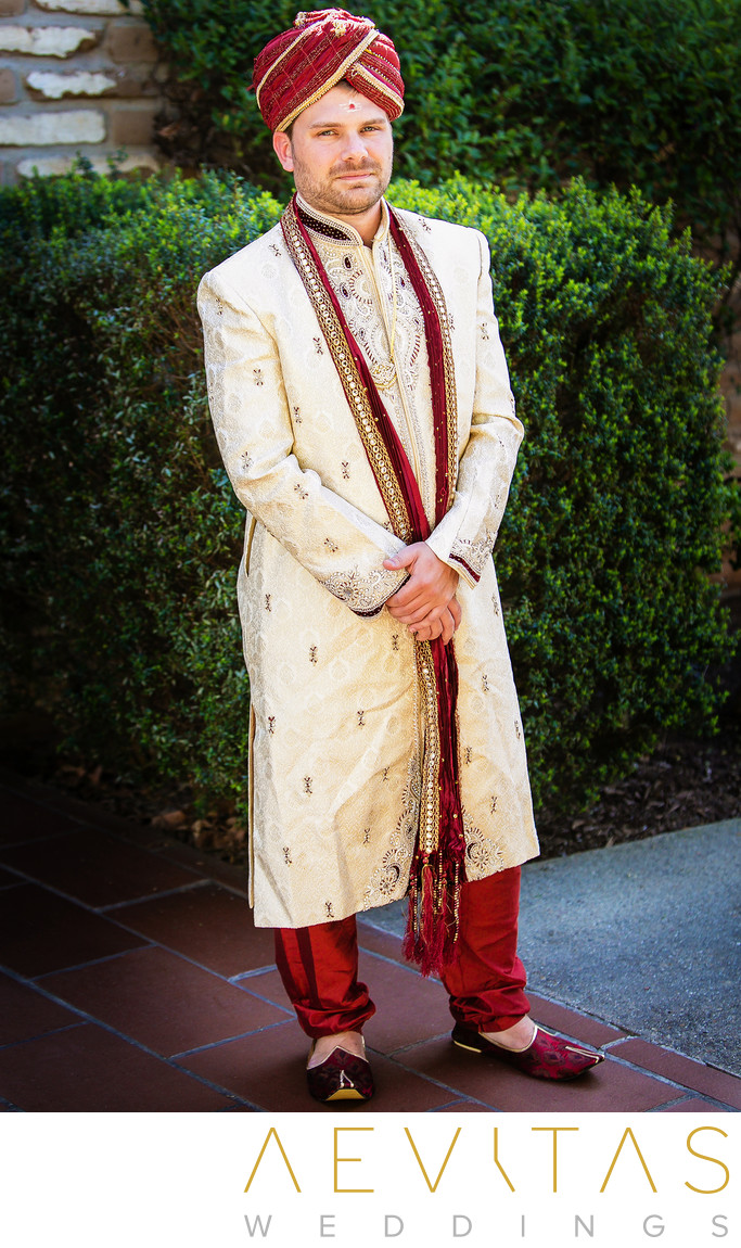 Groom portrait by San Diego Indian wedding photographer