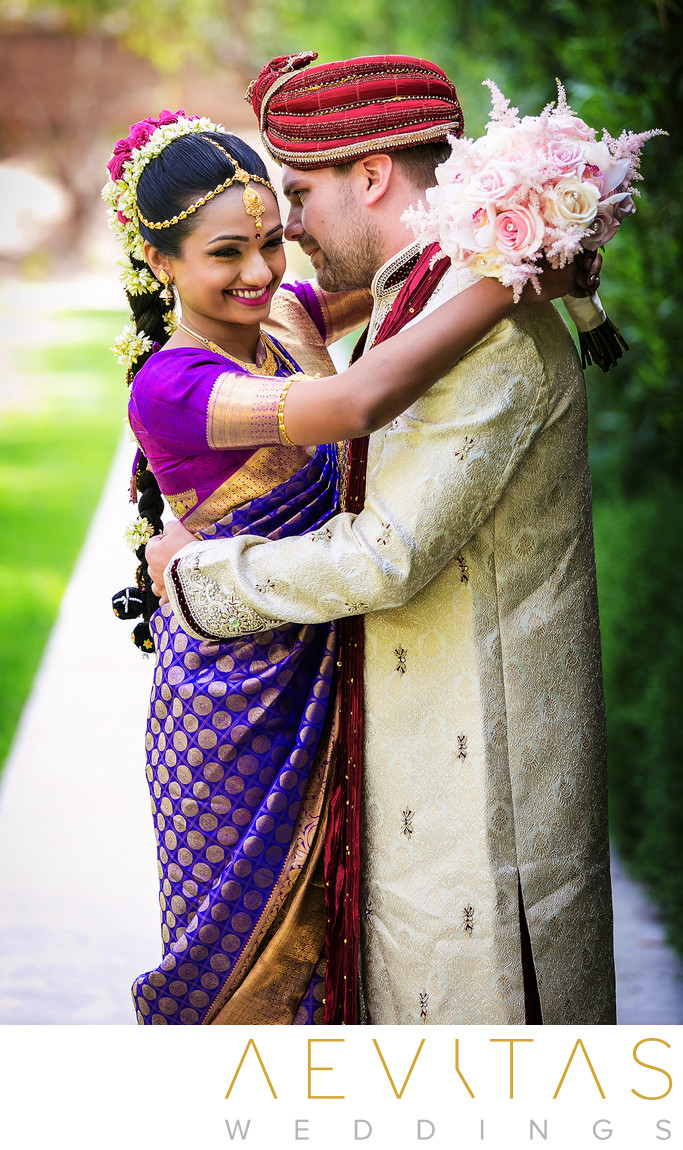 Couple portrait by LA Indian wedding photographer