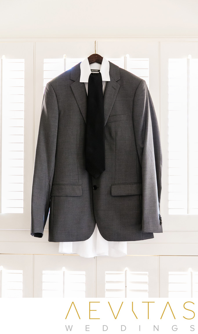 Groom's suit hanging in Rolling Hills Estates residence