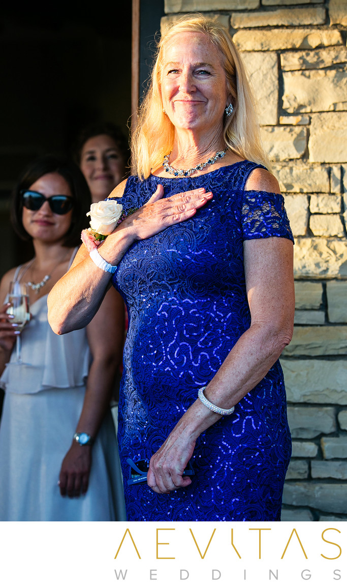 Emotional mom at Point Vicente wedding reception