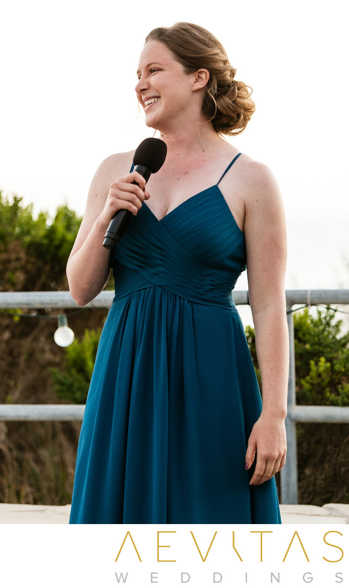 Bridesmaid speaking at Point Vicente wedding reception