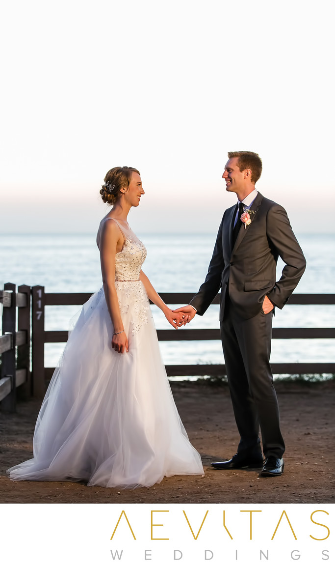 Sunset couple portrait at Point Vicente wedding
