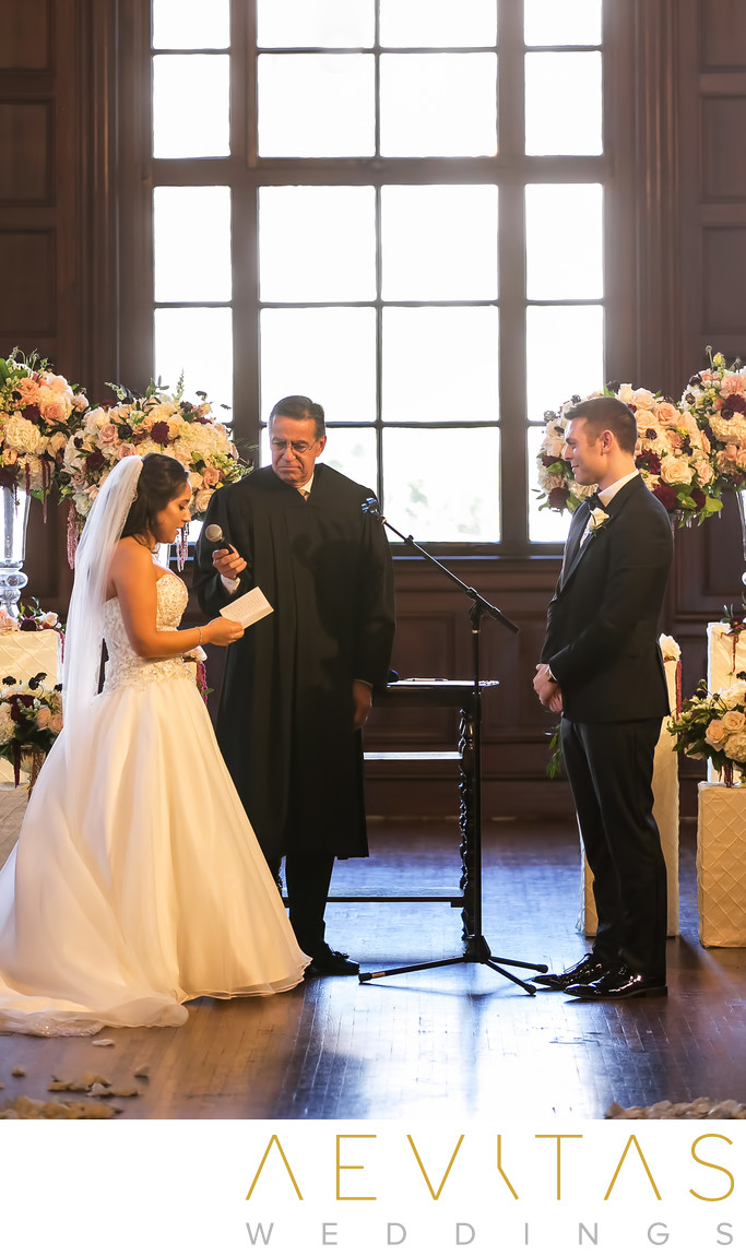 Bride reads vows at Ebell of Los Angeles ceremony